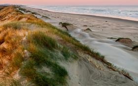 Обои небо, море, закат, песок, трава
