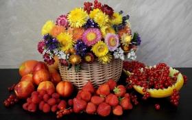 Картинка цветы, ягоды, малина, клубника, фрукты, натюрморт, корзинка