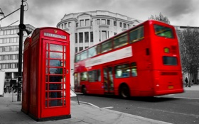 Картинка Лондон, London, England, telephone, red bus