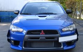 Обои Mitsubishi, Evo, Blue, Car, Evolution
