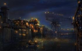 Картинка ночь, огни, стена, мир, лодка, водный, краны