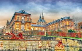 Обои небо, тучи, Испания, дворец, Сеговия, резиденция королей, Ла-Гранха