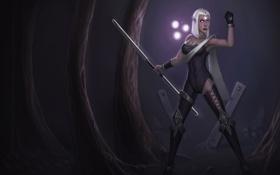 Обои девушка, деревья, темно, огоньки, арт, палка, league of legends