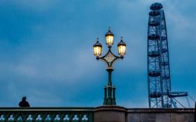 Обои мост, Англия, Лондон, вечер, освещение, фонарь, Великобритания