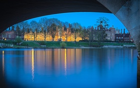 Обои мост, огни, река, англия, дома, вечер, арка