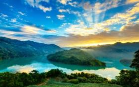Обои туман, река, рассвет, холмы, вид, утро, поворот