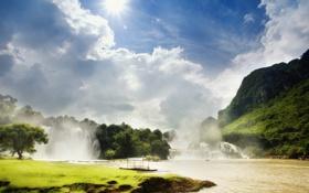 Обои небо, солнце, горы, река, водопад