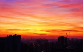 Картинка закат, красный, дома, солце