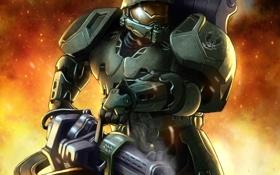 Картинка костюм, автомат, шлем, броня, art, halo, spartan