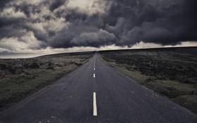 Картинка дорога, облака, тучи, шторм, полоса