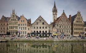 Картинка небо, люди, дома, канал, Бельгия, набережная, Фландрия