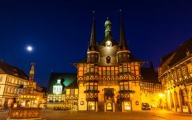 Обои ночь, огни, дома, сказка, Германия, площадь, фонтан
