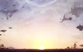 Обои фантастика, магия, противостояние, драконы, фэнтези, технология, замки