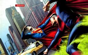 Обои superman, битва, new york, нью йорк, комикс, супермэн, dc comics