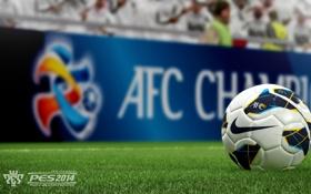 Обои газон, футбол, мяч, фокус, Pro Evolution Soccer 2014