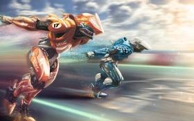 Обои фантастика, робот, скорость, киборг, бегун, пилоты