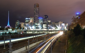 Обои ночь, огни, австралия, Melbourne, train, Australia, Metro Light Streams