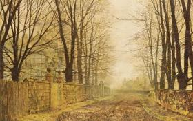 Обои дорога, осень, листья, John Atkinson Grimshaw, Golden Eve