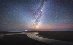 Обои небо, звезды, ночь, побережье, спокойствие, отлив, Млечный путь
