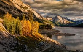 Картинка закат, осень, скалы, деревья, природа, горы, озеро