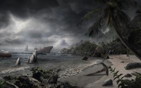 Картинка море, пляж, деревья, пальмы, корабль, Остров