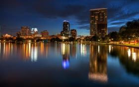 Картинка деревья, ночь, дома, Флорида, USA, Орландо, night