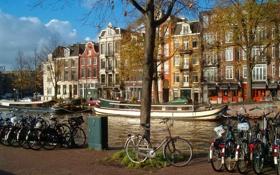 Обои велосипед, лодка, корабль, дома, канал, амстердам, nederland