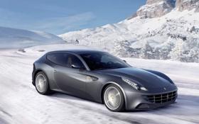 Картинка car, обоя, ferrari, автомобиль, феррари, winter, wallpapers