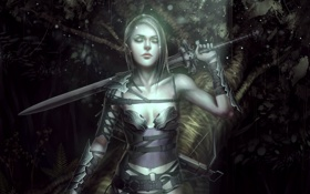 Обои лес, девушка, меч, арт, sword, forest, woman