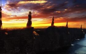 Обои закат, фантастика, вечер, море, берег, стражи, статуи