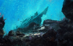 Картинка вода, камни, человек, глубина, арт, themed paintings under the sea