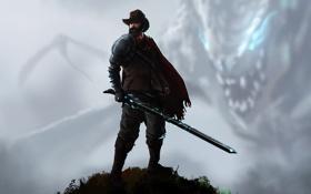 Обои фантастика, дракон, меч, шляпа, арт, ковбой, плащ