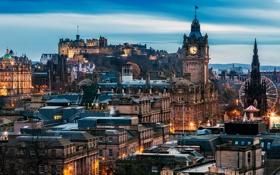 Картинка город, замок, здания, дома, вечер, Шотландия, архитектура