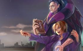 Обои радость, город, кровь, книга, парни, art, Fate/Zero