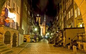 Картинка дорога, ночь, город, фото, улица, HDR, дома