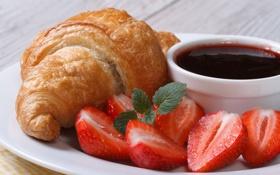 Обои клубника, джем, strawberry, croissant, круассан, jam