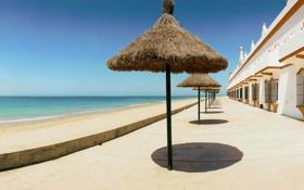 Обои пляж, зонт, отель, испания