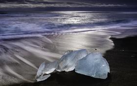 Картинка лед, море, берег, лёд, льдины