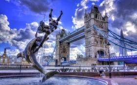 Обои небо, облака, мост, англия, лондон, hdr, фонтан
