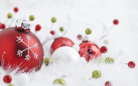 Обои снежинка, игрушки, шарики