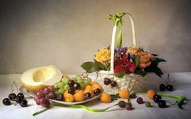 Картинка цветы, корзина, розы, виноград, натюрморт, черешня, гербера