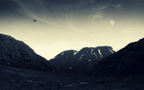 Обои горы, нло, UFO, небо, фото
