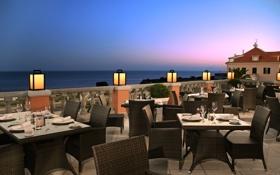 Обои море, отдых, вид, вечер, горизонт, relax, ресторан