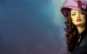 Картинка взгляд, девушка, рисунок, шляпа, помада, арт, шляпка