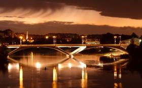 Картинка мост, город, огни, река, вечер