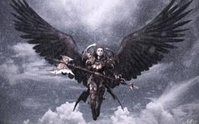 Картинка девушка, снег, оружие, крылья, ангел, арт, секира