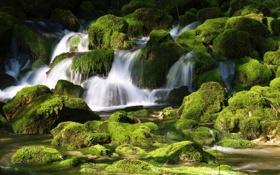 Картинка ручей, камни, мох, речка