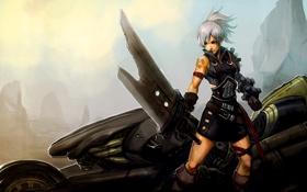 Обои девушка, оружие, меч, мотоцикл, лента, league of legends, riven