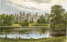 Картинка деревья, пруд, замок, рисунок