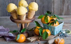 Обои мандарины, рожок, мороженое